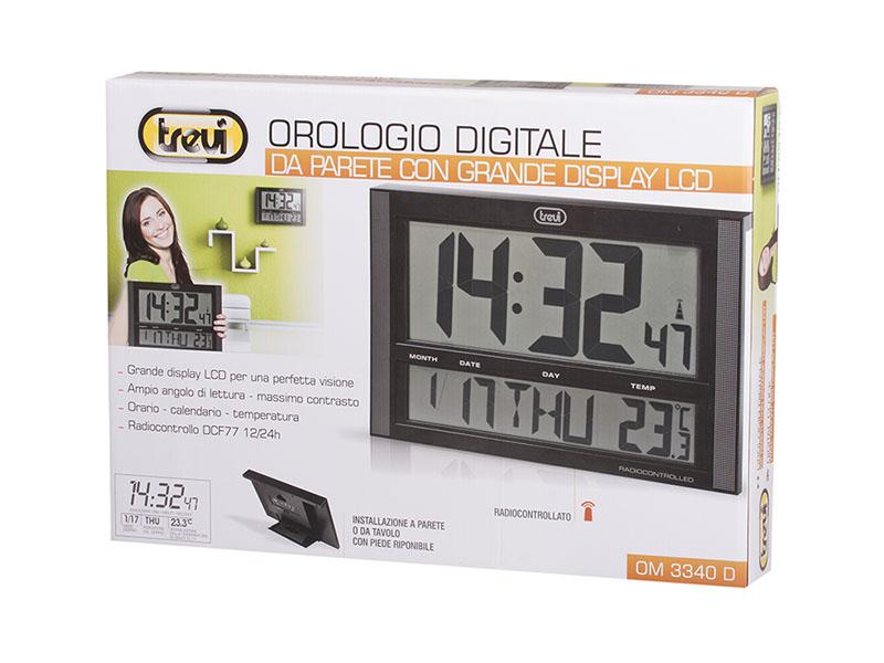 Orologio digitale da muro lcd trevi om 3340 d nero for Orologio digitale da parete ikea